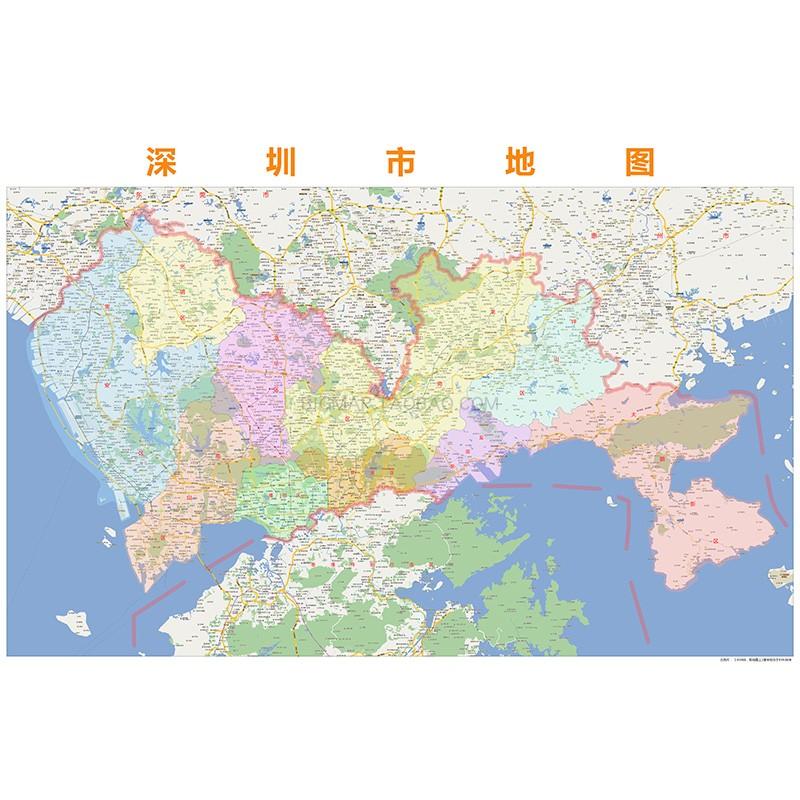 深圳市行政区划地图2018高清定制城市交通影像办公会议室挂图