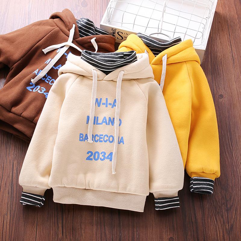 儿童2018冬季新款韩版潮流百搭保暖连帽卫衣男女童加绒假两件上衣