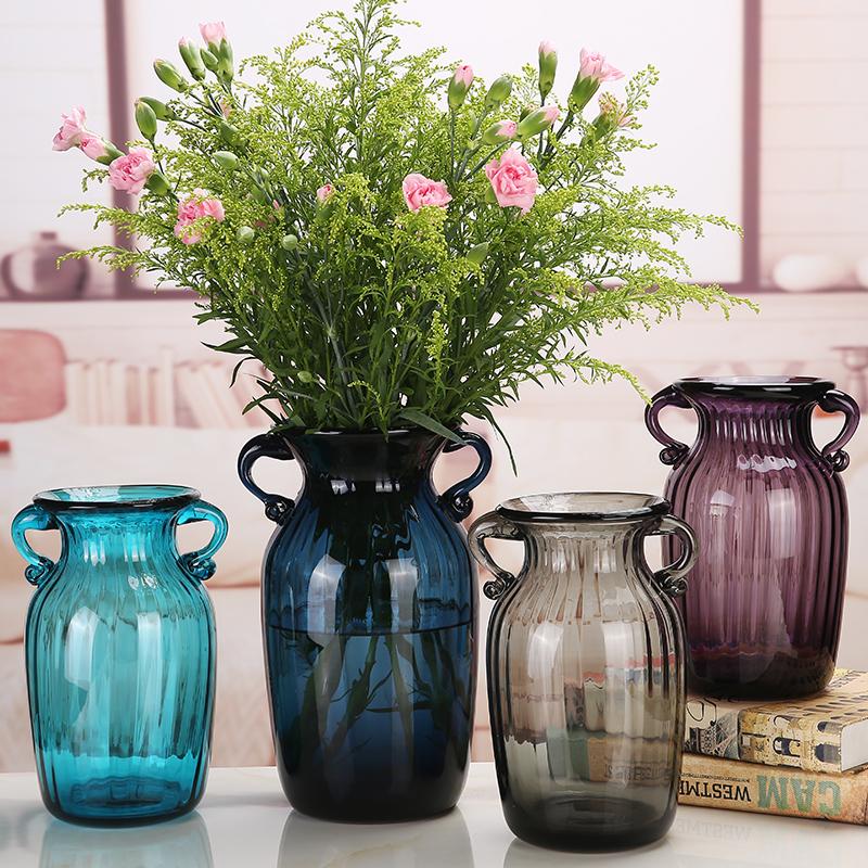 透明玻璃花瓶欧式客厅插花摆件彩色创意家居装饰干花富贵竹插花器