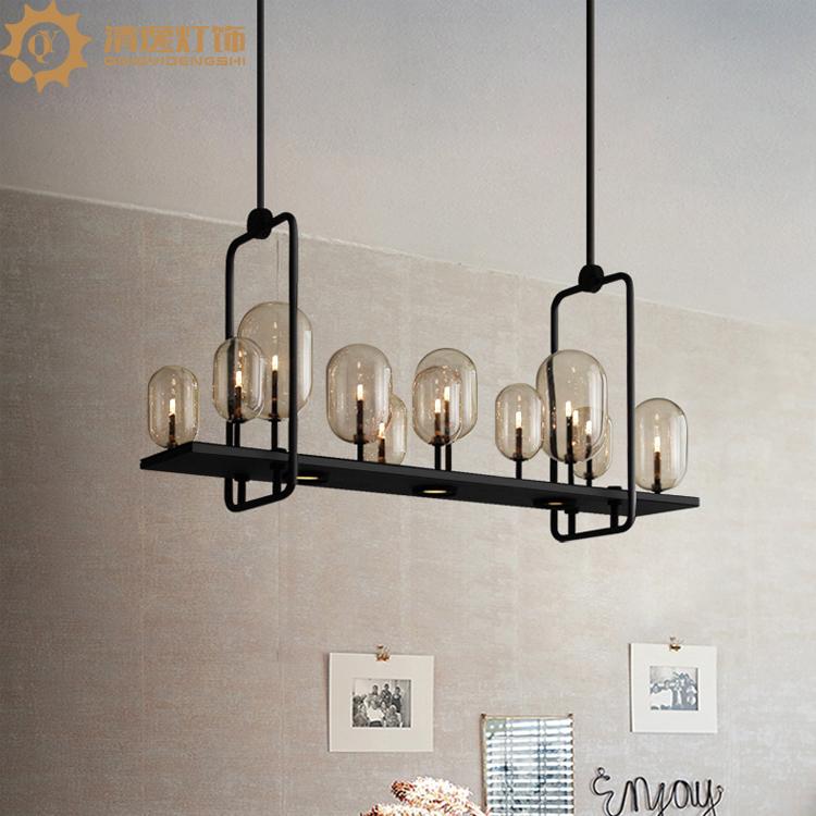 烛台灯后现代创意餐厅吧台咖啡厅灯玻璃球泡吊灯时尚低调轻奢主灯-清逸灯饰