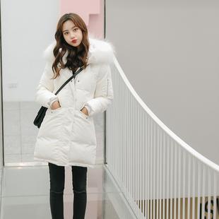 2018韩版新款冬装白色大毛领