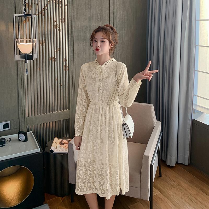 实拍 蕾丝连衣裙女春秋2020新款法式系带中长款网纱仙女裙F3163 -