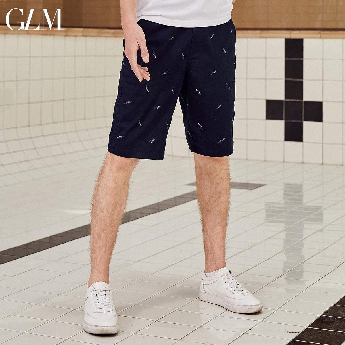 GLM男装2019夏季新款满印刺绣休闲短裤薄款修身五分裤子青年