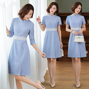 Spring and summer new beautician SPA welcome etiquette waiter hotel technician overalls professional dress A-line skirt