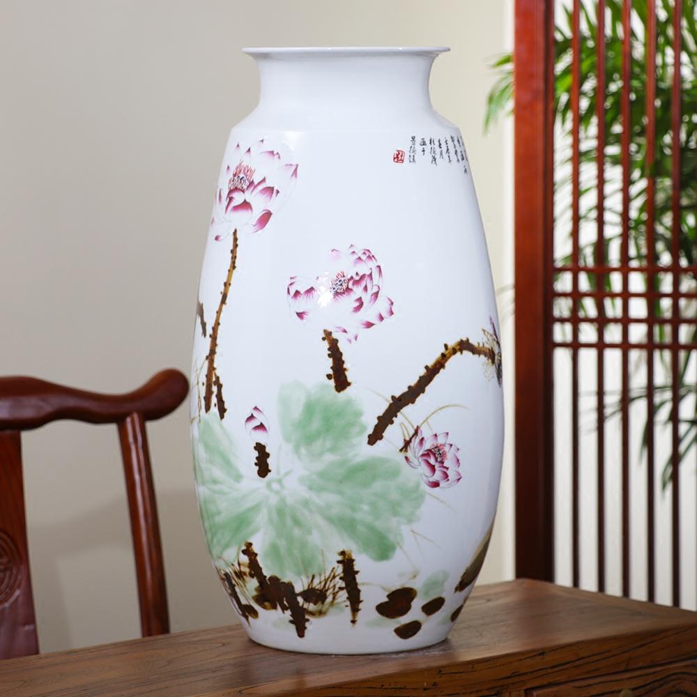 景德镇陶瓷器摆件手绘窑变荷花落地花瓶插花器现代中式客厅装饰品