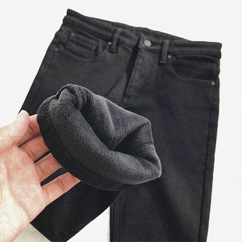子俊男士黑色修身小脚裤韩版潮流加绒加厚牛仔裤港风青年百搭长裤