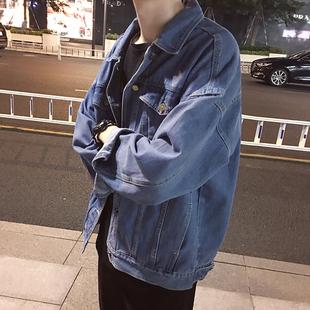 港风春季新款男士宽松牛仔外套韩版学生夹克上衣水洗机车牛仔衣潮