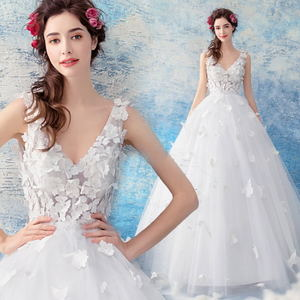 Flower + Butterfly 3D Embroidery Deep V-neck Princess Bridal Wedding Dress 9178