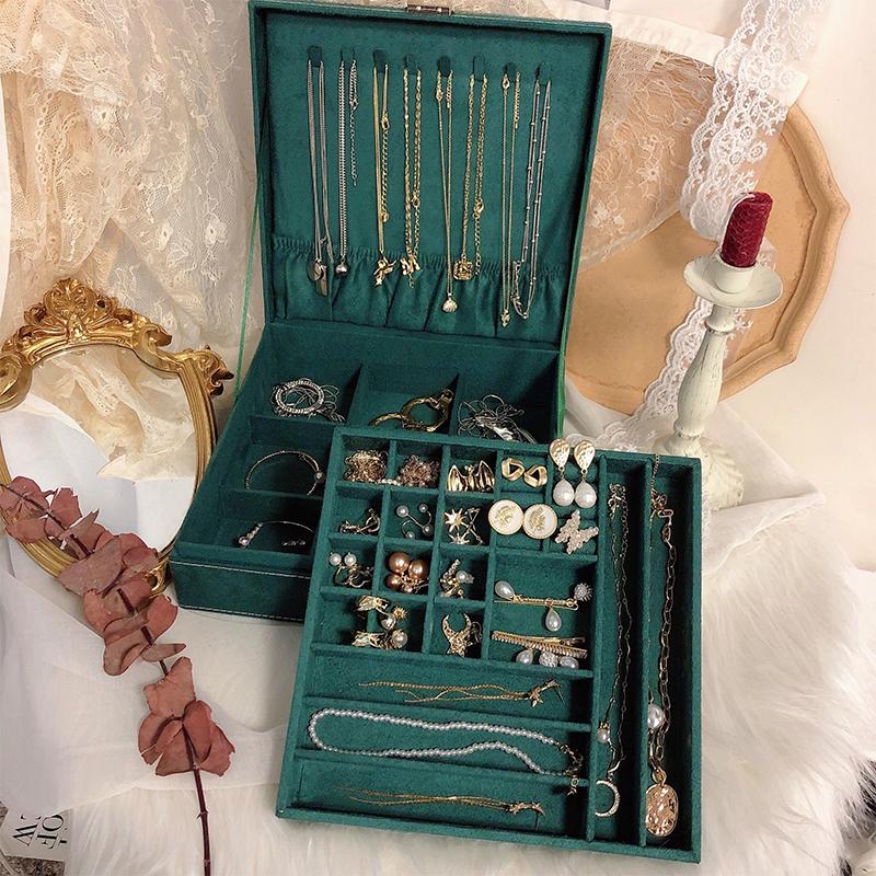 多层首饰盒耳钉耳环手链项链收纳盒子复古大容纳饰品盒抽屉宝箱潮