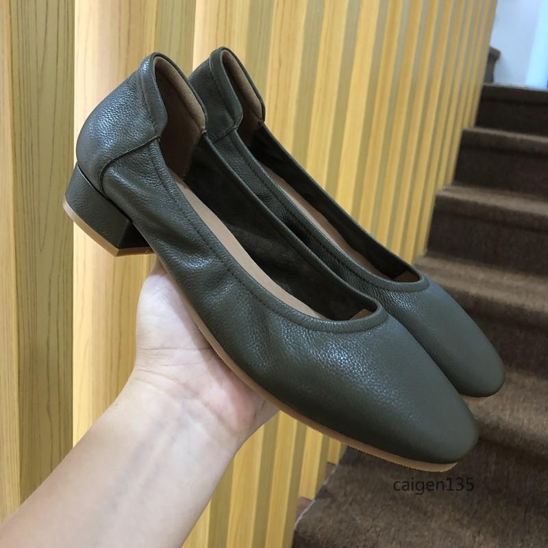 2019新款出口美国方头低跟牛皮单鞋舒适柔软真皮荔枝纹复古女鞋子