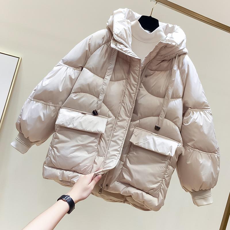 2019冬季新款韩国宽松纯色连帽双口袋加厚短款羽绒棉衣女面包棉服