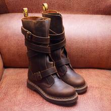 正品Dr.高筒xi4扣马丁靴si古疯马皮 机车靴皮带扣长靴Lauren