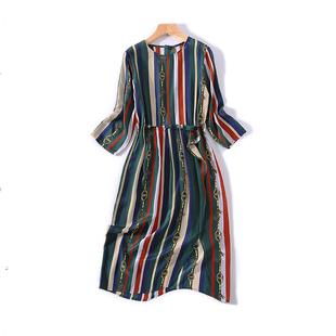 撞色条纹 重工印花 个性  质感柔和 真丝修身过膝连衣裙a1087