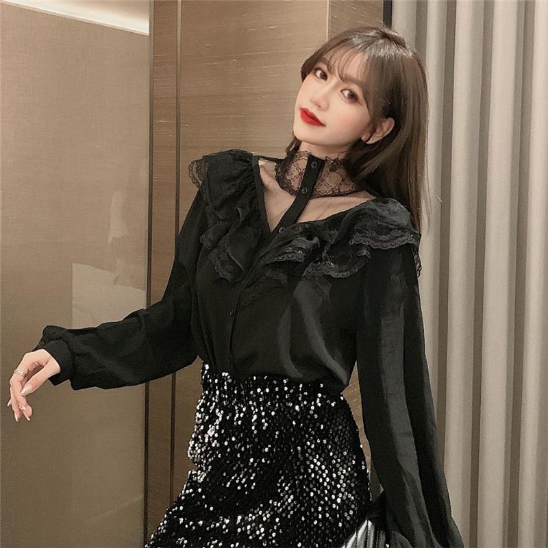 实拍2020新款女法国小众chic气质蕾丝拼接挂脖衬衫荷叶边长袖衬衣-迷秀 MISHOW-