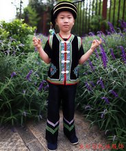 彝族方块(小)马甲 男童单裤 彝族pi12童套装en服装 火把节服饰
