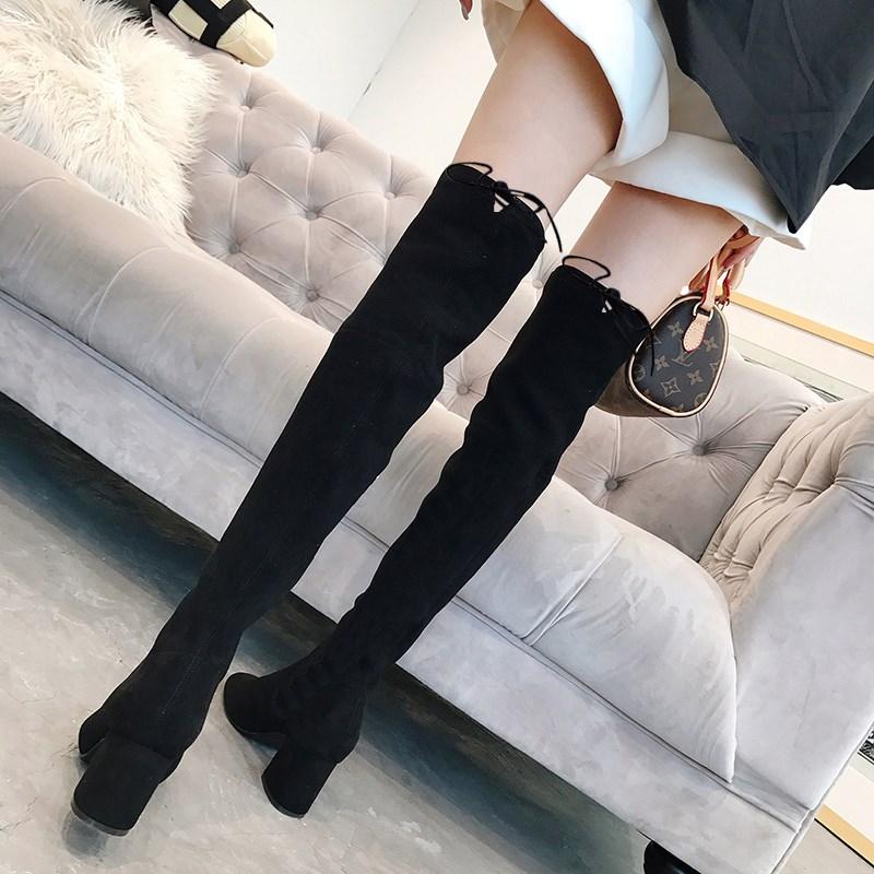 过膝长靴子女秋季2019新款鞋子女潮鞋冬季高筒加绒秋款高跟弹力靴
