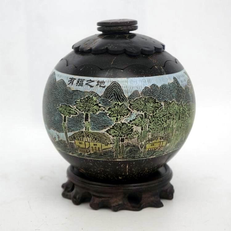 热销海南特色椰雕画手工彩绘储物茶叶罐 海南风光原创工艺礼品