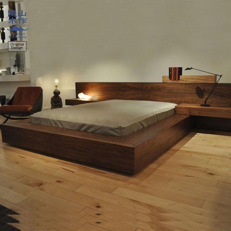 北欧日式全实木床榻榻米床黑胡桃木橡木1.8双人床简约现代储物床