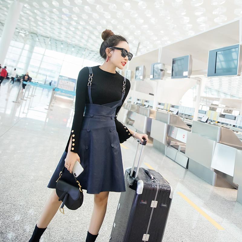 chic名媛2018新款裙子女秋冬高腰背带裙显瘦套装裙