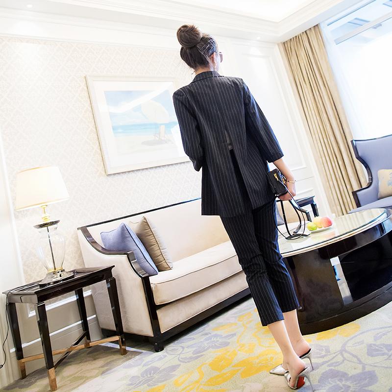 欧洲站2018春装新款西服条纹休闲小西装裤子时尚套装两件套潮女装