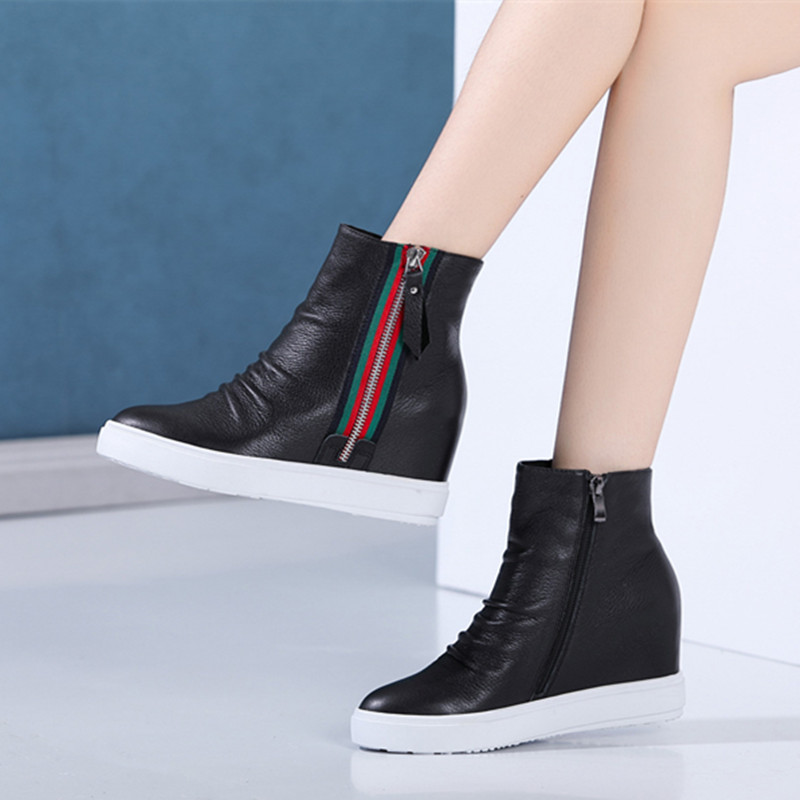 真皮休闲鞋秋冬2018新款马丁靴厚底小尖头女靴内增高短靴单靴