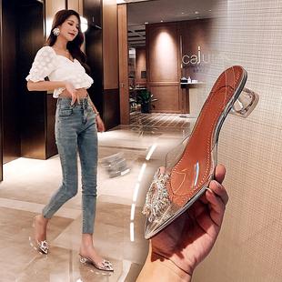 真皮尖头鞋小仙女透明水晶高跟鞋宴会水钻包头凉鞋中跟粗跟单鞋女图片