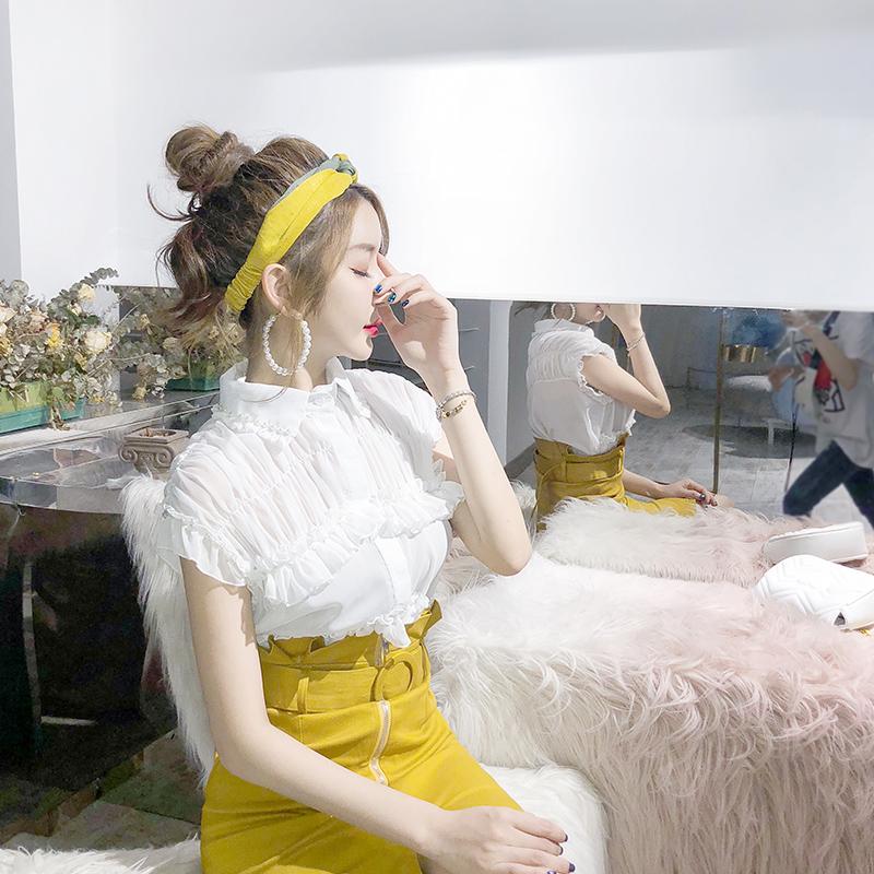 2018夏装新款气质超仙荷叶边白色上衣洋气娃娃领雪纺衫短袖女夏