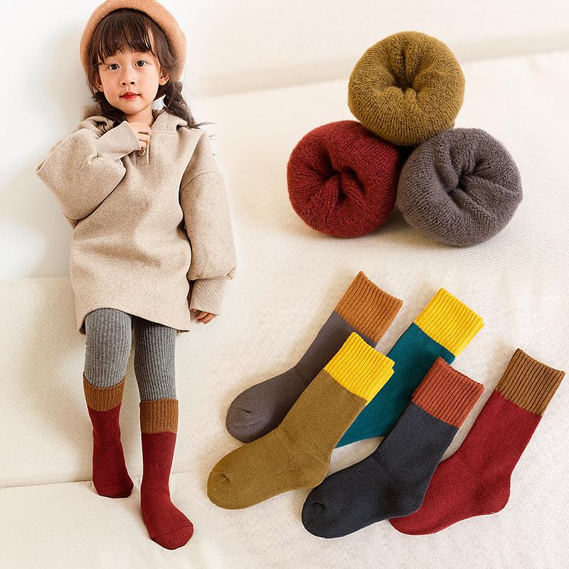 儿童袜子男童纯棉秋冬季加厚加绒保暖中筒大童堆堆宝宝女童长筒袜