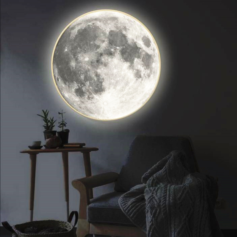 现货MORROR月亮镜圆镜客厅卧室玄关氛围灯壁挂装饰镜子创意礼物