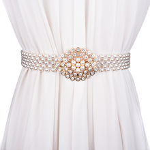 时尚百搭珍珠宽女士腰带ni8水钻装饰uo封 弹性松紧镶钻腰带女