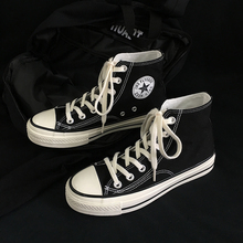 黑色高帮男女同式情侣式20in101春季ex闲式平底透气帆布鞋子
