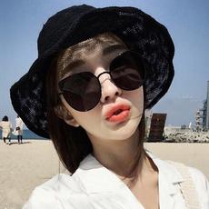 透气棉麻渔夫帽子女夏天韩版百搭日系太阳防晒沙滩帽可折叠遮阳帽
