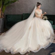 婚纱礼服2021新式新娘结婚一字ji13齐地珍an腰孕妇婚纱优雅