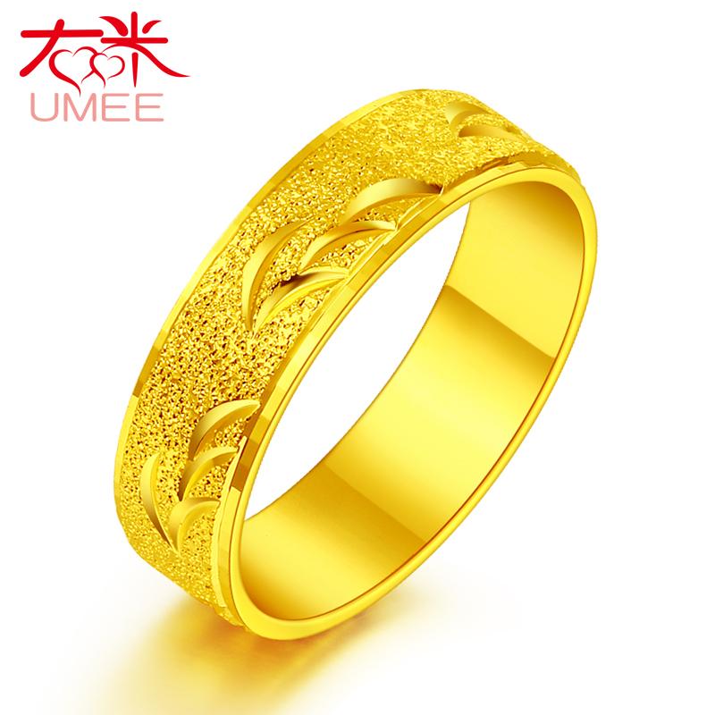 戒指男个性简约镀24K黄金戒指男士时尚饰品潮男戒指仿真沙金指环