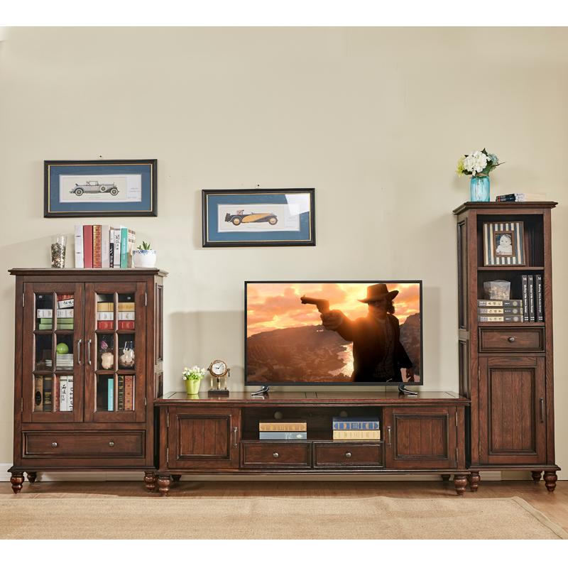 美式乡村白橡纯实木组合电视柜立柜/酒柜1.8米