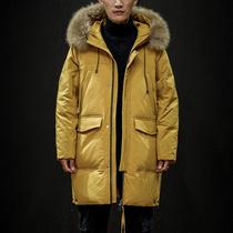 男装羽绒服冬季工装加厚中长款过膝潮流大毛领外套白鸭绒防寒保暖