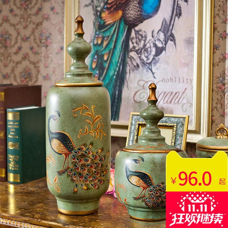 欧式 陶瓷 创意 茶叶罐 美式 家居 玄关 样板间 工艺品 装饰 摆件