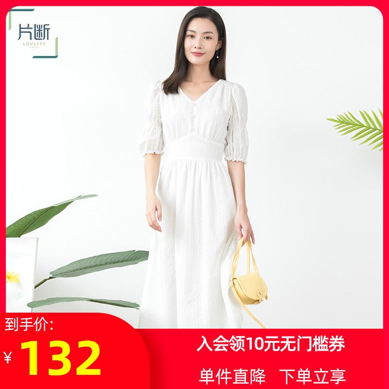 片断2021夏新品纯色短袖抽褶V领显瘦中腰显腿长长款连衣裙女