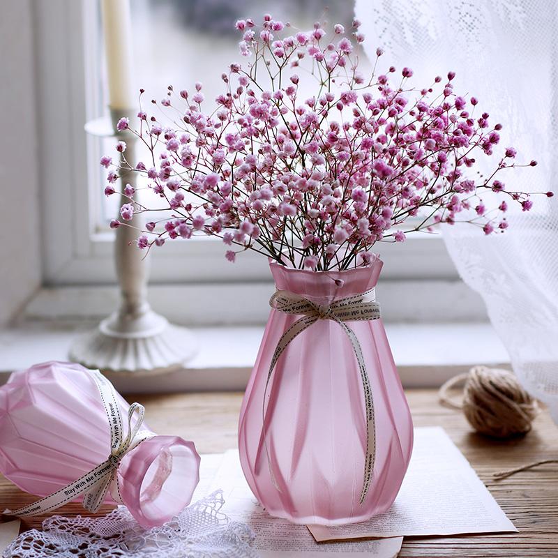 简约欧式渐变水培玻璃花瓶水养植物绿萝花盆仿真干花插花瓶摆件