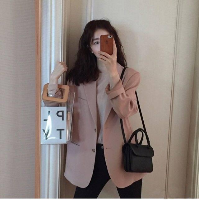 2019春秋新款女ins少女西装外套休闲百搭粉色小西服港味复古chic