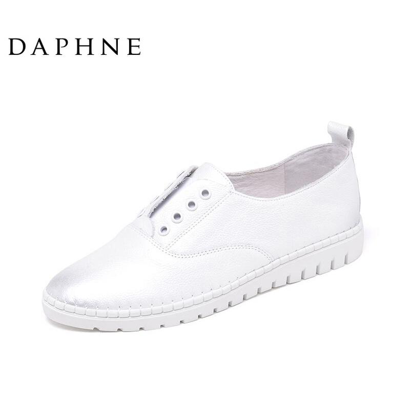 Daphne/达芙妮小皮鞋交叉绑带系带英伦时尚舒适女鞋粗高跟鞋单鞋