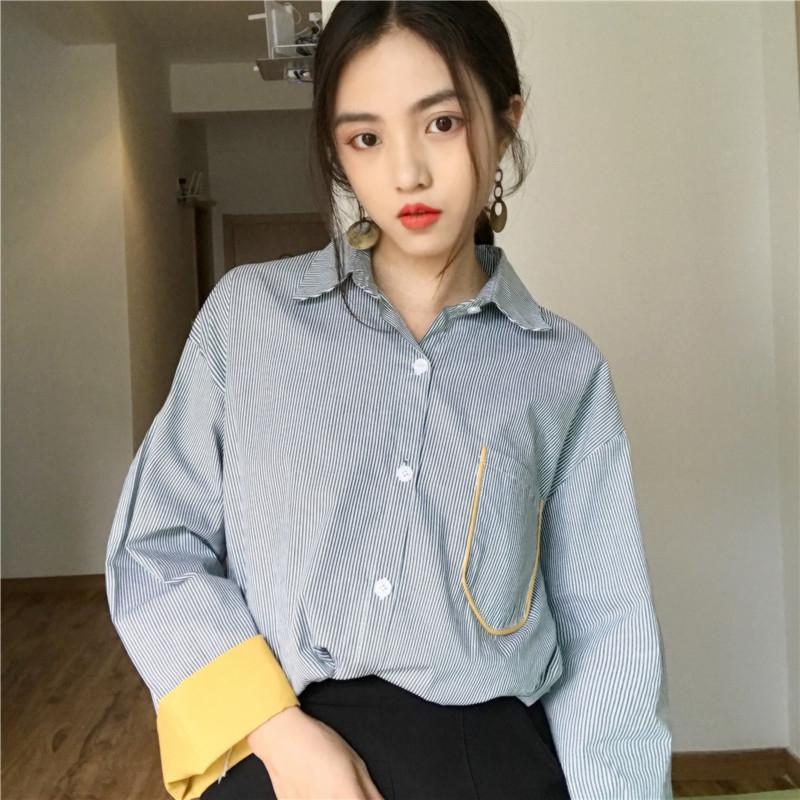 夏季新款女装韩版BF风条纹衬衣外套宽松百搭开衫上衣学生防晒衬衫