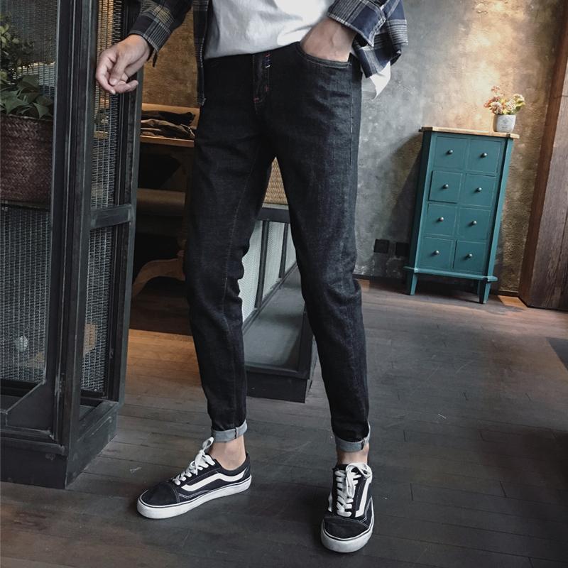 牛仔裤男修身韩版潮流秋冬季黑色裤子加绒百搭弹力男生休闲小脚裤