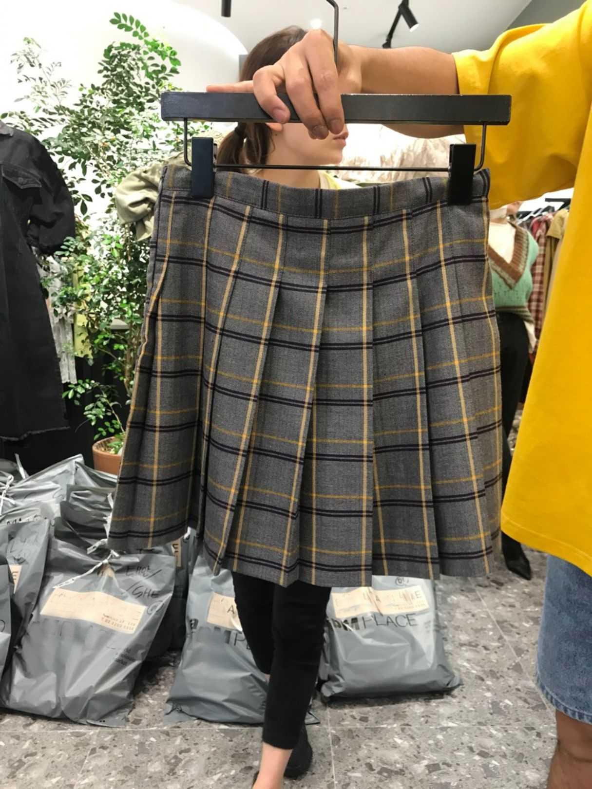 韩版2019秋季女新款时尚百搭格子气质百褶短裙格纹高腰半身裙-一点亮-