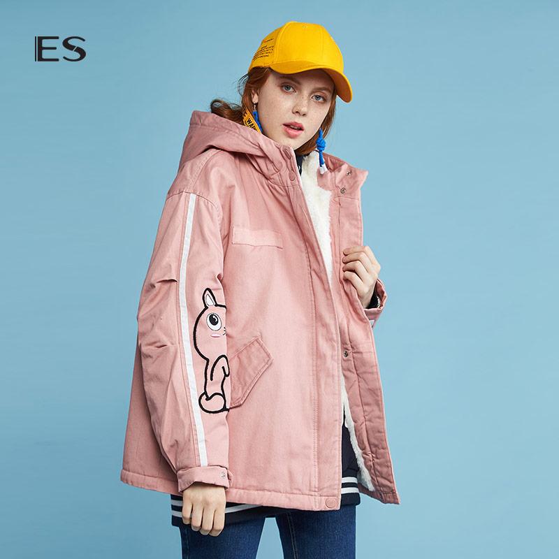 艾格es2018冬季新款女学院风连帽中长款棉服8e033200705