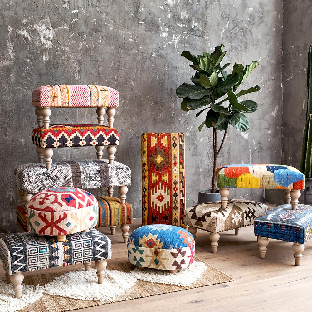 印度进口手工KILIM地毯面料波西米亚北欧换鞋凳茶