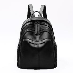 双肩包女士2018新款时尚韩版百搭潮黑色防盗皮背包大容量学生书包