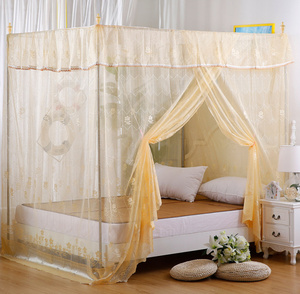 Square top old-fashioned wooden bed 1.5m single door traditional floor encryption bed mantle court princess jacquard mosquito net 1.8m