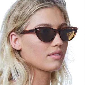 欧美猫眼米钉太阳镜男女时尚墨镜 个性街拍眼镜小框豹纹太阳眼镜