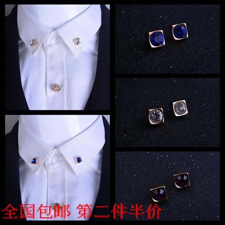 韩版饰品水晶胸针胸花韩版正方形镶钻小领针领扣女衬衫衣领夹男